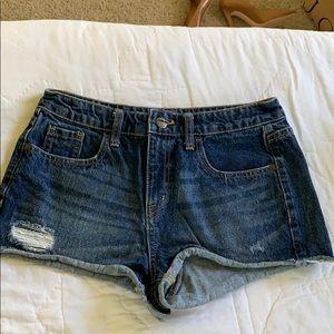 Distressed cutoff jean shorts